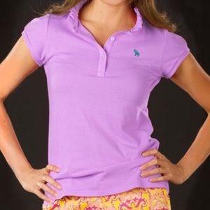Sonja violet capsleeve ruffle polo